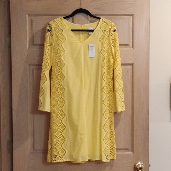 Chico's Dresses & Skirts - BRAND NEW Yellow Sundress with Lace Sleeves